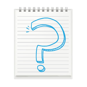 notebook paper with question mark drawn icon