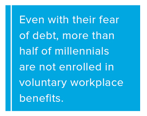 Pull Quote: Even with their fear of debt, more than half of millennials are not enrolled in voluntary workplace benefits.