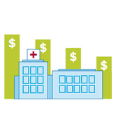 hospital building with money graphs in the background