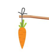 carrot hanging from twig