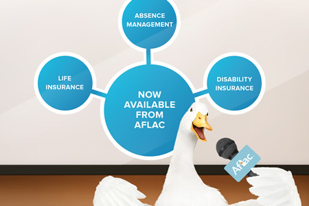 Aflac duck with microphone