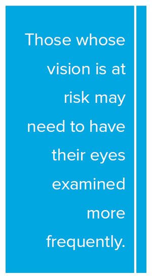 Pull Quote: Those whose vision is at risk may need to have their eyes examined more frequently.