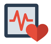 heart and EKG monitor icon