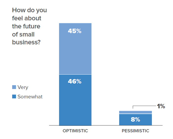 Chart data: How do you feel about the future of small business? 45% were very optimistic; 46% were somewhat optimistic. 1% were very pessimistic; 8% were somewhat pessimistic.