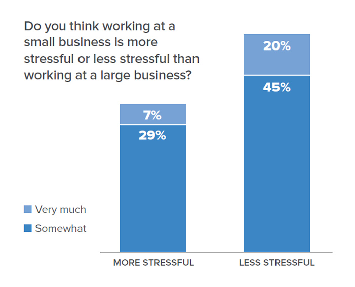 Chart data; Do you think working at a small business is more stressful or less stressful than working at a large business? 7% said its very much more stressful; 29% said its somewhat more stressful; 20% said its very much less stressful; 45% said its somewhat less stressful.