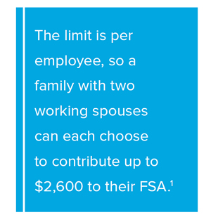 Pull Quote: The limit is per employee, so a family with two working spouses can each choose to contribute up to $2,550 to their FSA