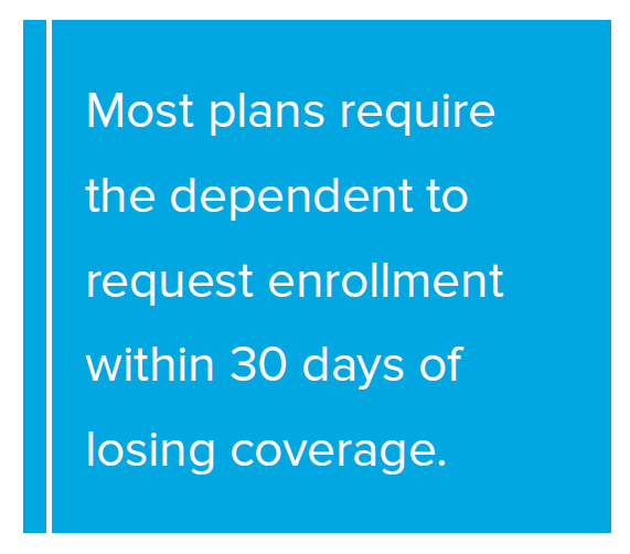 Pull Quote: Most plans require the dependent to request enrollment within 30 days of losing coverage.