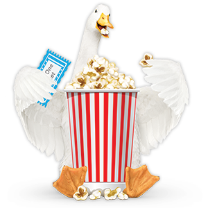 Aflac duck eating popcorn, holding movie ticket