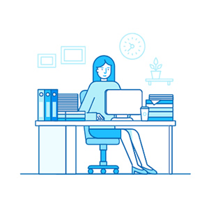icon person sitting at desk using a computer