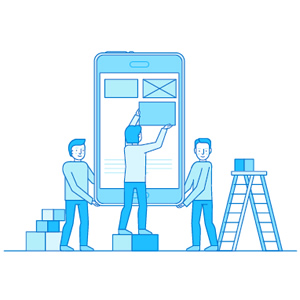 icon people placing boxes on a smartphone as if wireframing