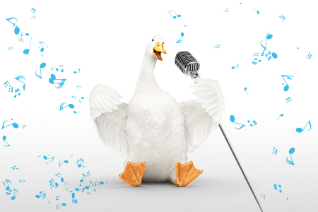 Aflac duck singing into microphone