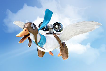flying Aflac One Day Pay duck